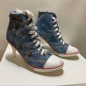 Converse Denim, High Heel, Studded Shoes
